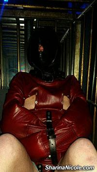 caging & solitary Consinement session with leather straitjacket