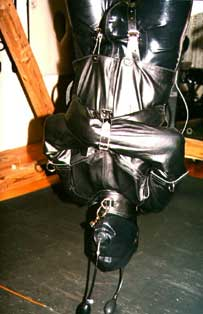 Leather and latex bound in bondage by Sharina while being rubber gagged and inverted on the suspension system.